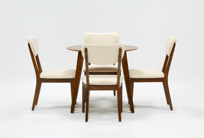 Kara 5 Piece Round Dining Set With Upholstered Back Chairs - 360