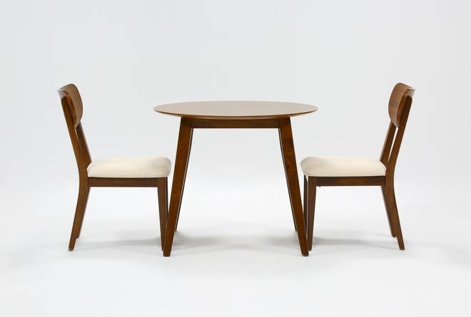 Kara 3 Piece Round Dining Set With Wood Back Chairs - 360