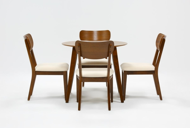 Kara 5 Piece Round Dining Set With Wood Back Chairs - 360