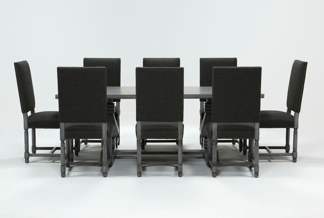 Toscana Cement 84 Inch 9 Piece Rectangle Dining With Pacifica Charcoal Chairs - 360
