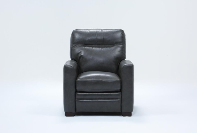 Greer Dark Grey Leather Power Recliner With Power Headrest - 360