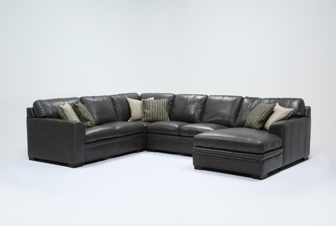 Greer Dark Grey Leather 4 Piece Sectional With Right Arm Facing Chaise & Armless Loveseat - 360
