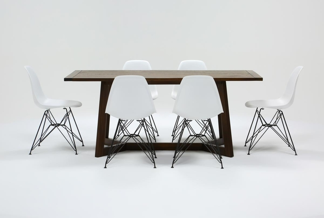 Cleve 7 Piece Rectangle Dining Set With Alexa White Chairs - 360