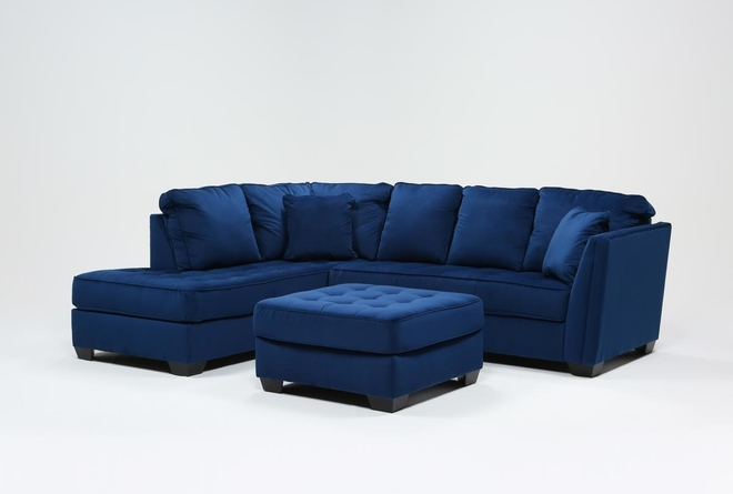 Maven Ink Blue 2 Piece Sectional With Left Arm Facing Chaise And Cocktail Ottoman - 360