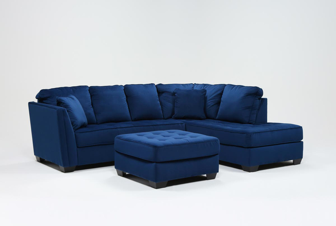 Maven Ink Blue 2 Piece Sectional With Right Arm Facing Chaise And Cocktail Ottoman - 360