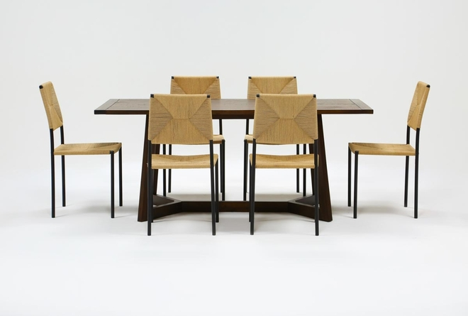 Cleve 7 Piece Rectangle Dining Set With Rattan Chairs - 360