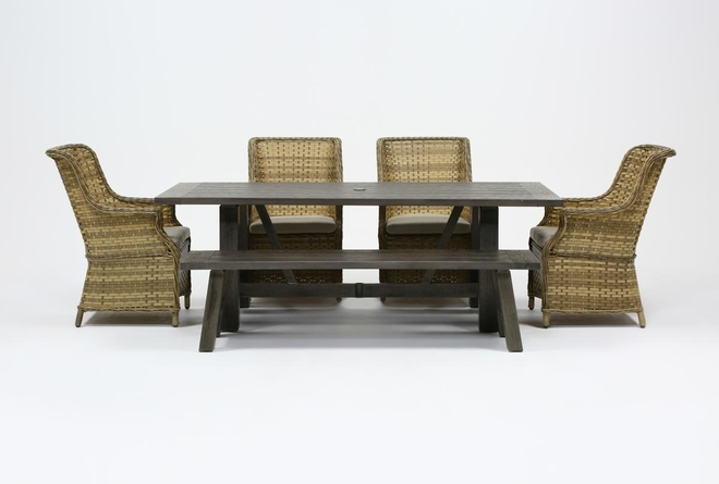 Panama Outdoor 6 Piece Rectangle Dining Set With Capri Chairs - 360