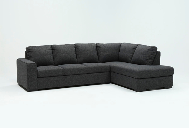Lucy Dark Grey 2 Piece Sleeper Sectional With Right Arm Facing Chaise - 360
