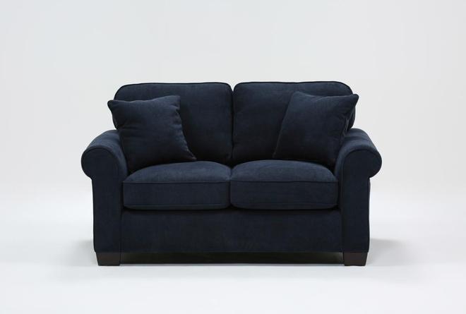 Margot Denim Twin Sleeper Sofa With Memory Foam Mattress - 360