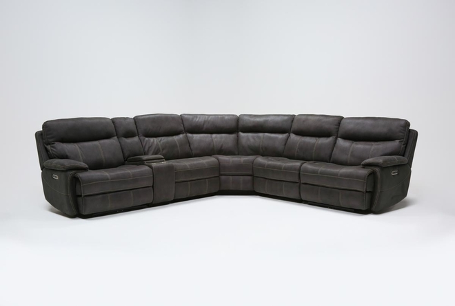 Denali II Charcoal 6 Piece Reclining Sectional With 2 Power Headrests & Usb - 360