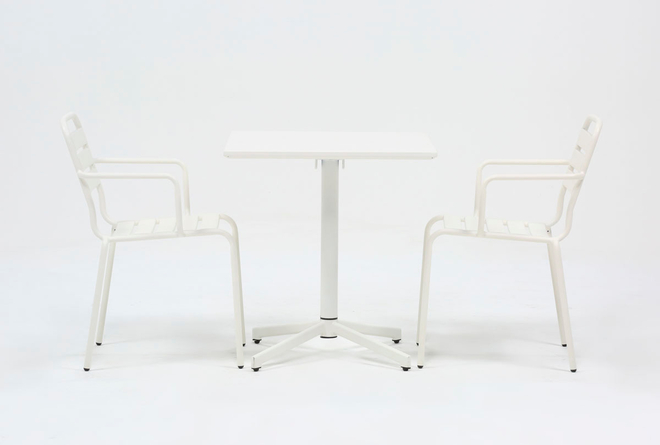 Flip Top Outdoor 3 Piece White Bistro Table With White Chairs - 360