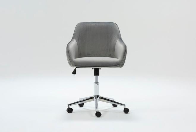 Robyn Grey Velvet Desk Chair - 360