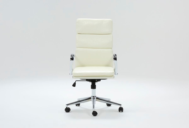 Moby White High Back Desk Chair - 360