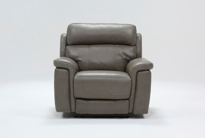 Dino Grey Leather Power Recliner With Power Headrest & USB - 360