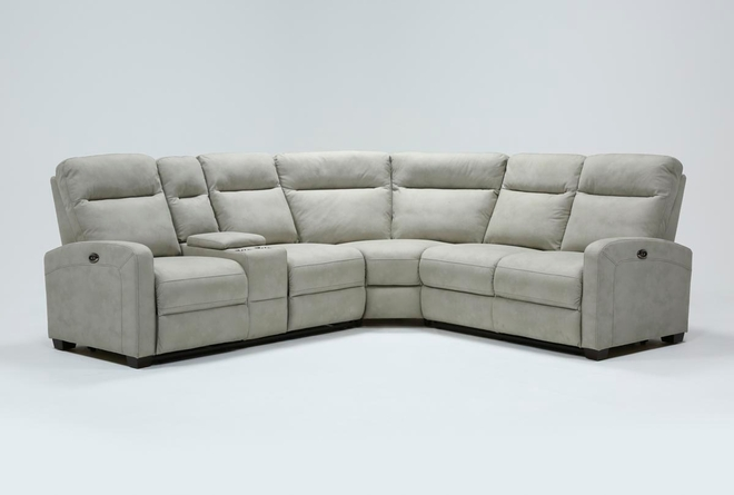 Jarrell Grey 3 Piece Power Reclining Sectional With Left Arm Facing Console Loveseat  - 360
