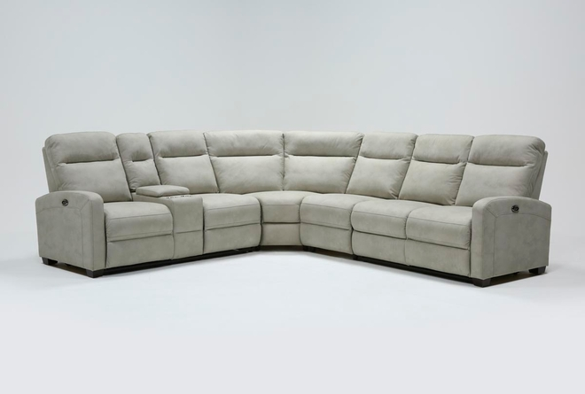 Jarrell Grey 4 Piece Power Reclining Sectional With Left Arm Facing Console Loveseat  - 360
