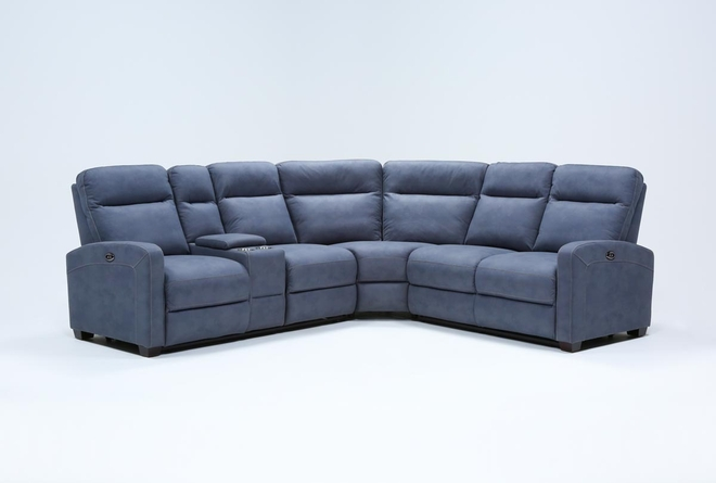 "Jarrell Blue Grey 3 Piece 101"" Power Reclining Sectional With Left Arm Facing Console Loveseat  - 360"