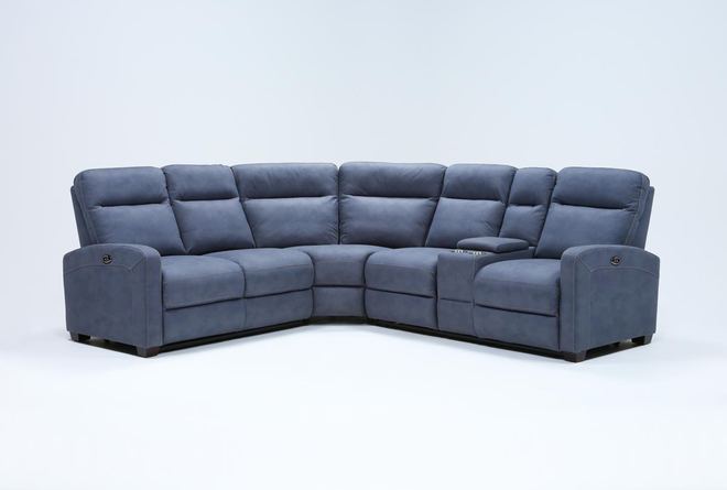 "Jarrell Blue Grey 3 Piece 101"" Power Reclining Sectional With Right Arm Facing Console Loveseat  - 360"