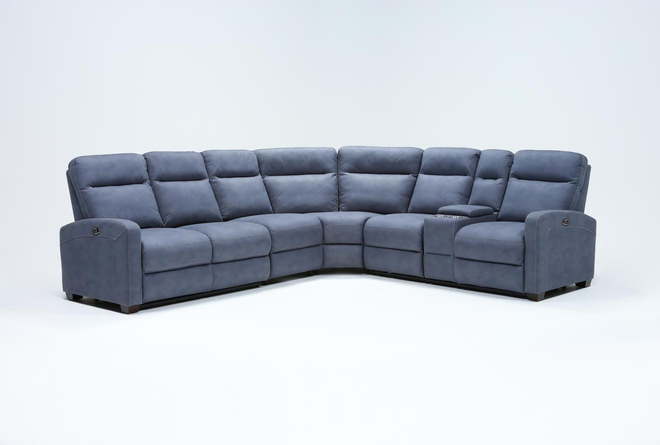 "Jarrell Blue Grey 4 Piece 123"" Power Reclining Sectional With Right Arm Facing Console Loveseat  - 360"