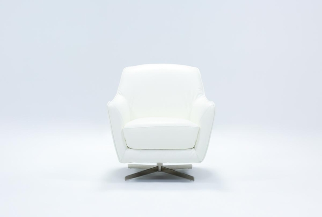 Cara White Leather Swivel Accent Chair - 360