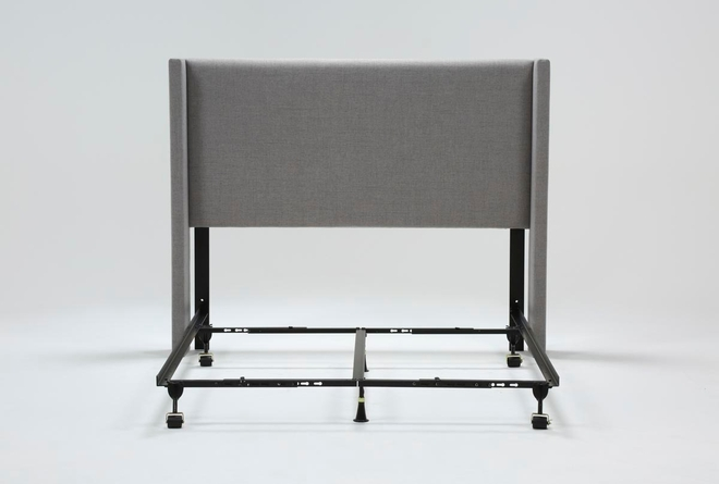 Bennett Queen Wingback Upholstered Headboard With Metal Bed Frame - 360