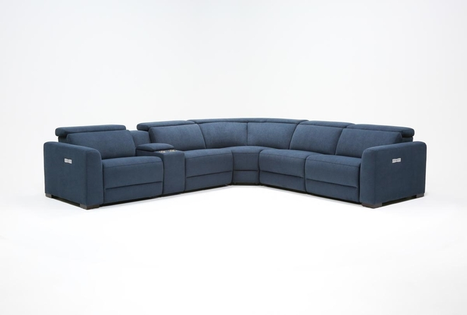 Chanel Denim 6 Piece Power Reclining Sectional - 360