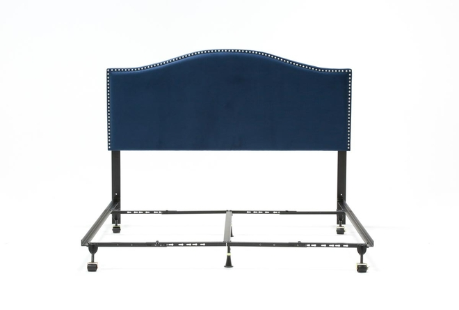 Belmont Eastern King Velvet Upholstered Headboard With Metal Bed Frame - 360