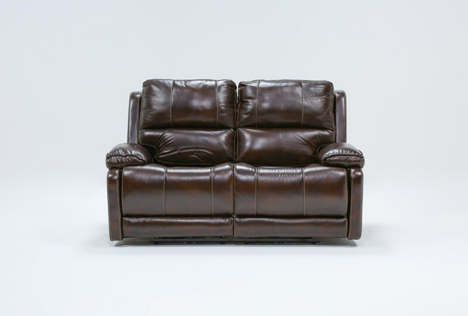 """Teodoro Leather 67"""" Reclining Loveseat With Power Headrest - 360"""
