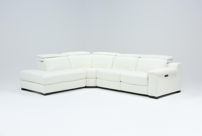 "Hana White Leather 3 Piece 113"" Power Reclining Sectional With Left Arm Facing Chaise - 360"