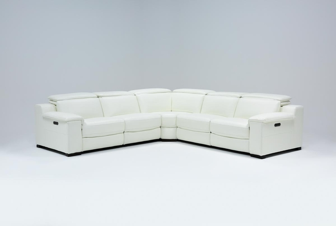 "Hana White Leather 3 Piece 113"" Power Reclining Sectional - 360"