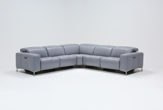 """Alessa Sleet 5 Piece 113"""" Power Reclining Sectional With Power Headrest And Usb - 360"""