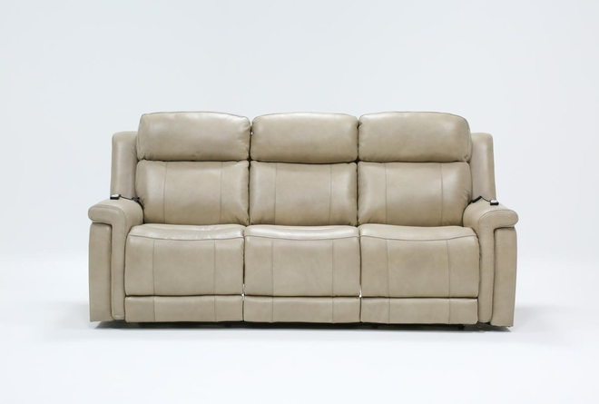 "Serena Taupe 87"" Power Reclining Sofa With Power Headrest Heat & Massage - 360"