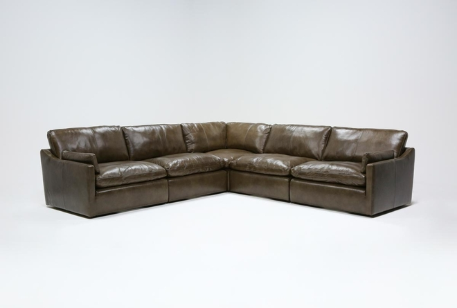 "Marcello Leather 5 Piece 127"" Sectional - 360"