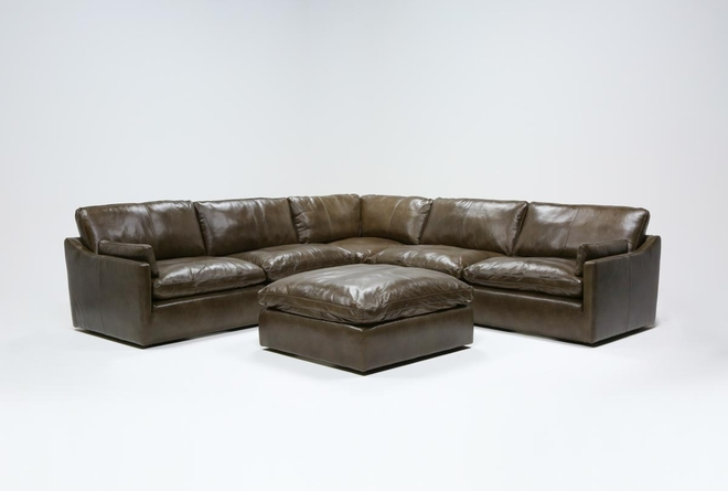 """Marcello Leather 5 Piece 127"""" Sectional With Ottoman - 360"""