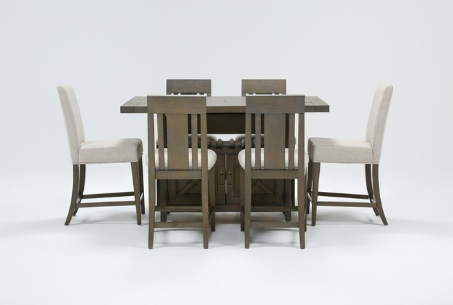 Concord 7 Piece Extension Counter Set With Wood And Upholstered Back Stools - 360