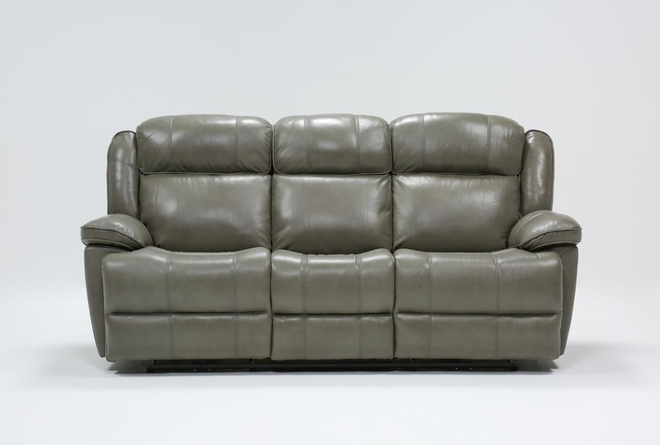 "Eckhart Grey Leather 86"" Power Reclining Sofa With Power Headrest & Usb - 360"