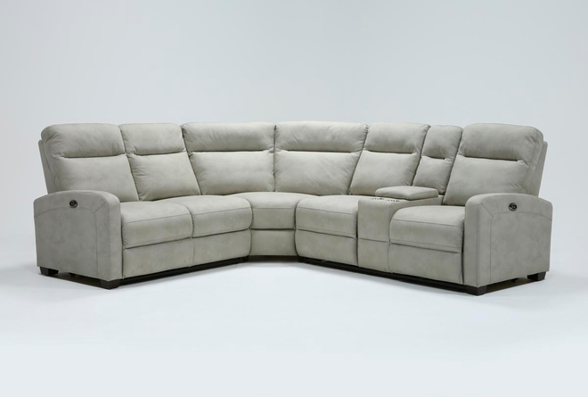 """Jarrell Grey 3 Piece 101"""" Power Reclining Sectional With Right Arm Facing Console Loveseat - 360"""