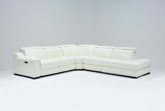 """Hana White Leather 4 Piece 113"""" Power Reclining Sectional With 3 Power Recliners & Right Arm Facing Chaise - 360"""
