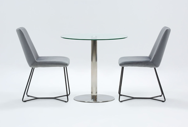 Braun 3 Piece Dining Set With Sable Grey Chairs - 360