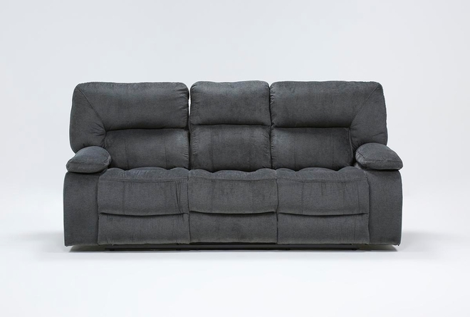 "Chadrick Grey 88"" Reclining Sofa With Dropdown Console - 360"