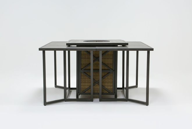 Capri Outdoor Firepit Bar Table With Two Bar Tables - 360
