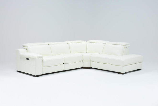 "Hana White Leather 3 Piece 113"" Power Reclining Sectional With Right Arm Facing Chaise - 360"