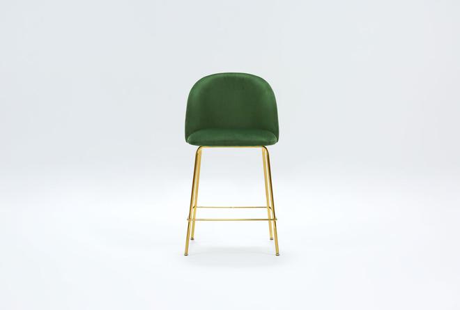 """Ava Emerald Green Velvet 25"""" Counter Stool  - 360"""
