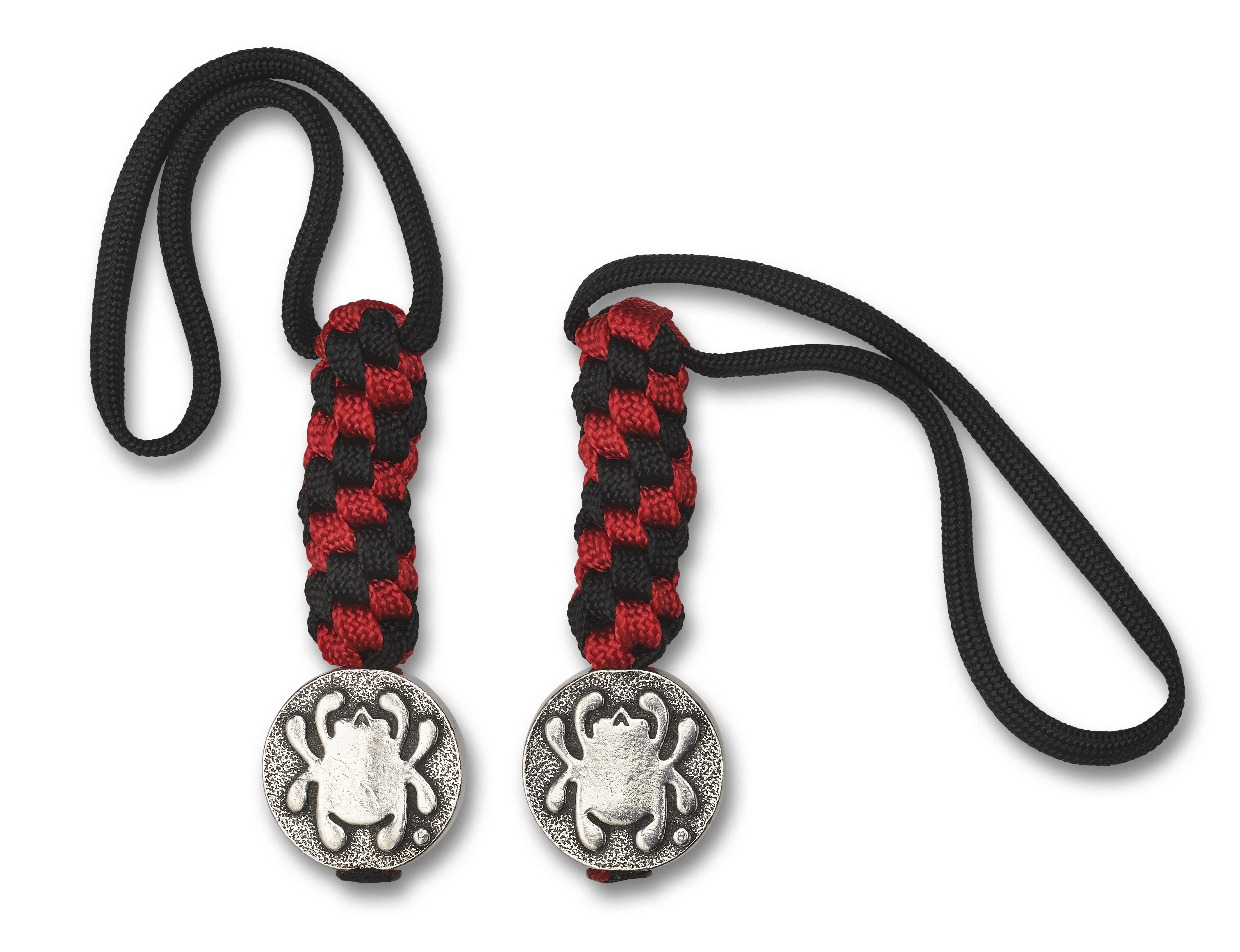 Spyderco Round Pewter Bead with Bug Logo and Hand-Braided Black and Red Paracord Lanyard BEAD5LY
